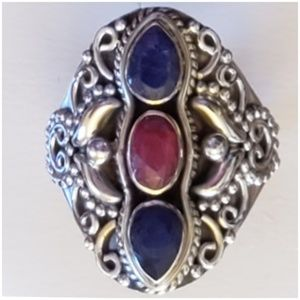 Natural Sapphires and Ruby Statement Ring Size 7
